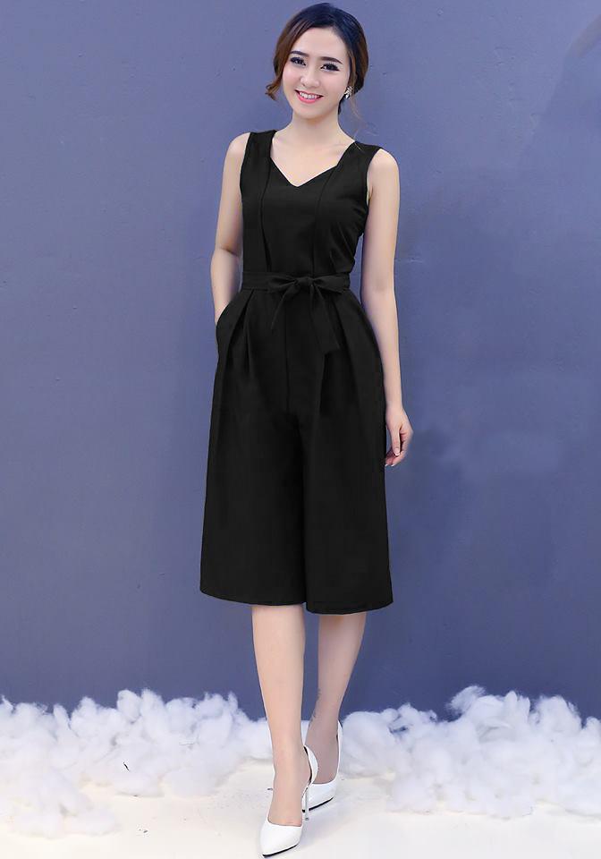 Bộ áo liền quần cổ tim kèm thắt lưng màu đen  - set đồ công sở đẹp