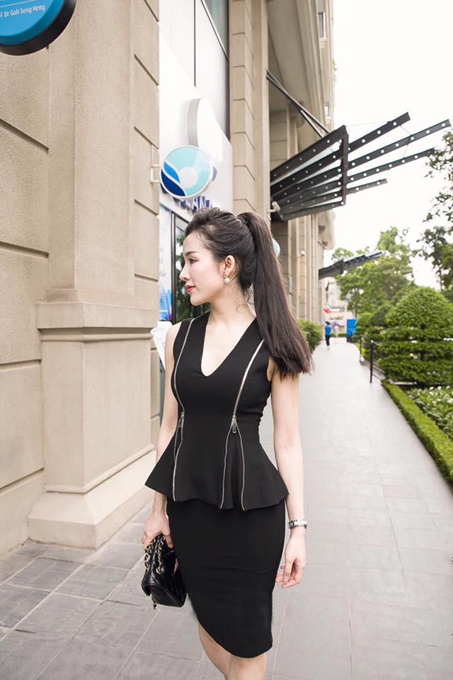 Bộ set công sở áo phối dây kéo chân váy bút chì màu đen - đầm công sở mullet