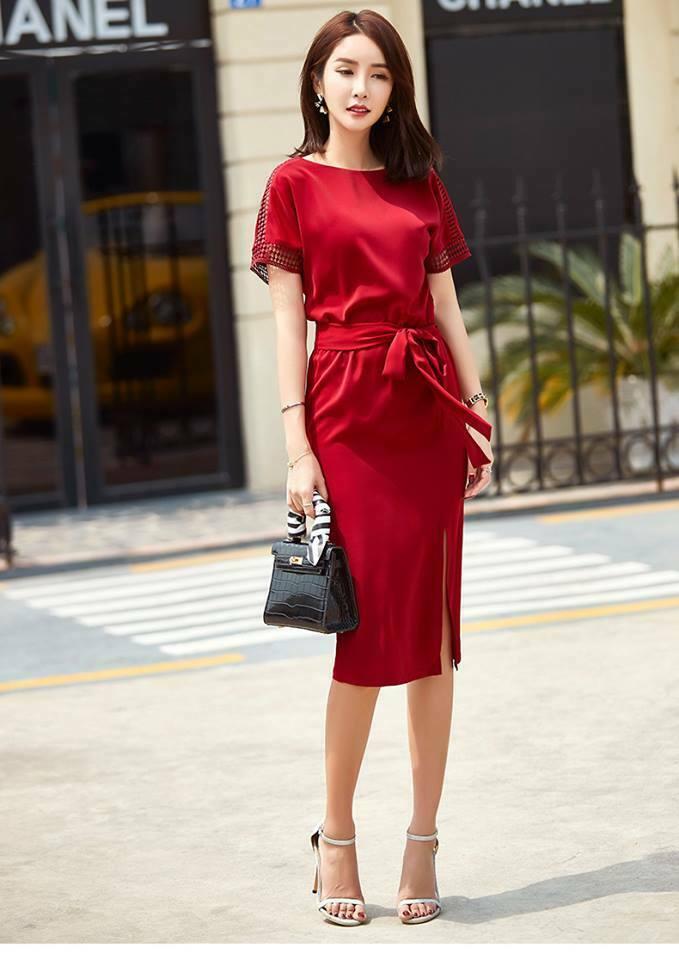 đầm công sở nữ màu đỏ
