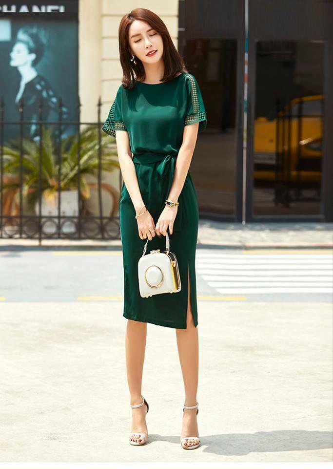 Đầm công sở eo thun xẻ đùi kèm dây màu xanh - đầm công sở hàn quốc sang trọng