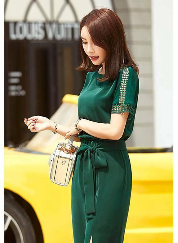 Đầm công sở eo thun xẻ đùi kèm dây màu xanh - đầm công sở vải cứng