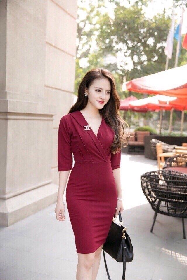 Đầm công sở giả vest kèm logo chanel màu đỏ - đầm công sở quý phái
