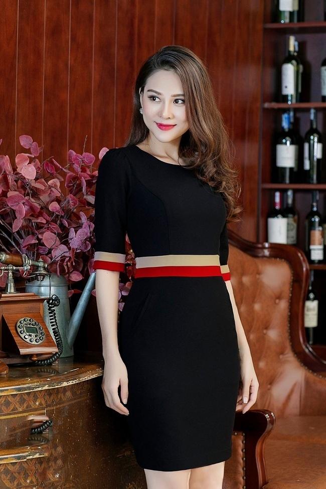 Đầm công sở phối màu tay lỡ dễ thương - đầm công sở đẹp giá rẻ