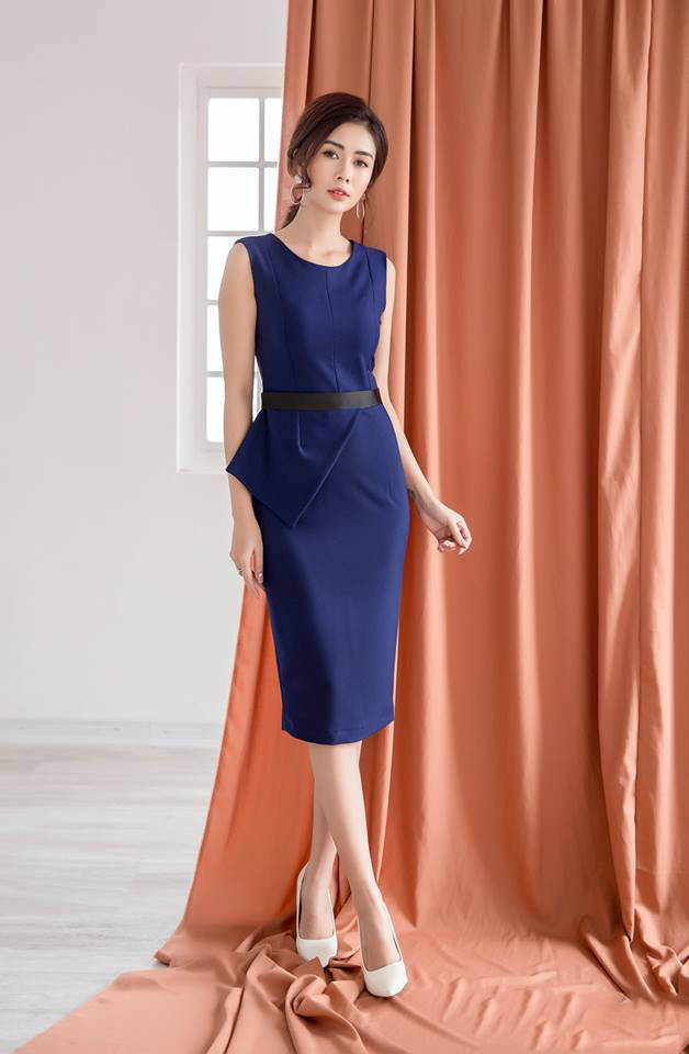 Đầm công sở phối ruy băng màu xanh