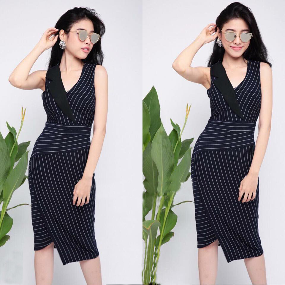 Đầm công sở sọc giả vest màu đen cao cấp - đầm công sở nữ