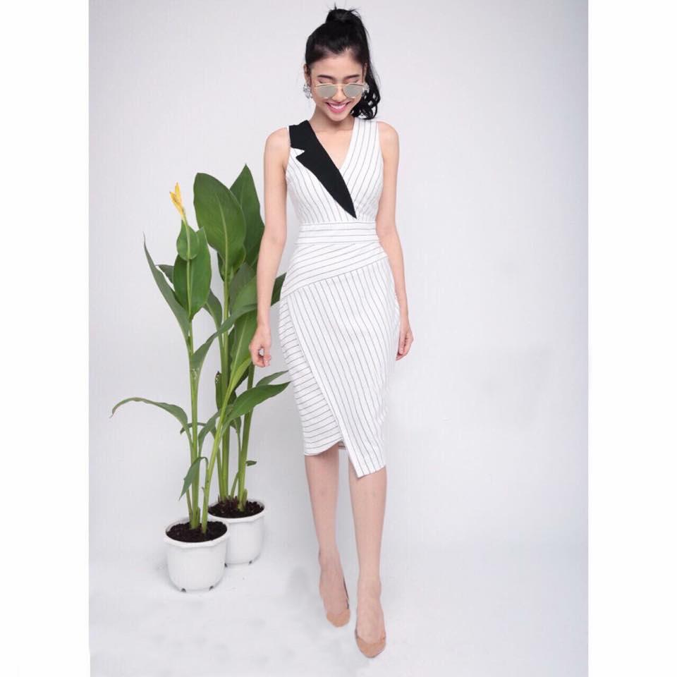 Đầm công sở sọc giả vest màu trắng cao cấp - đầm công sở xinh