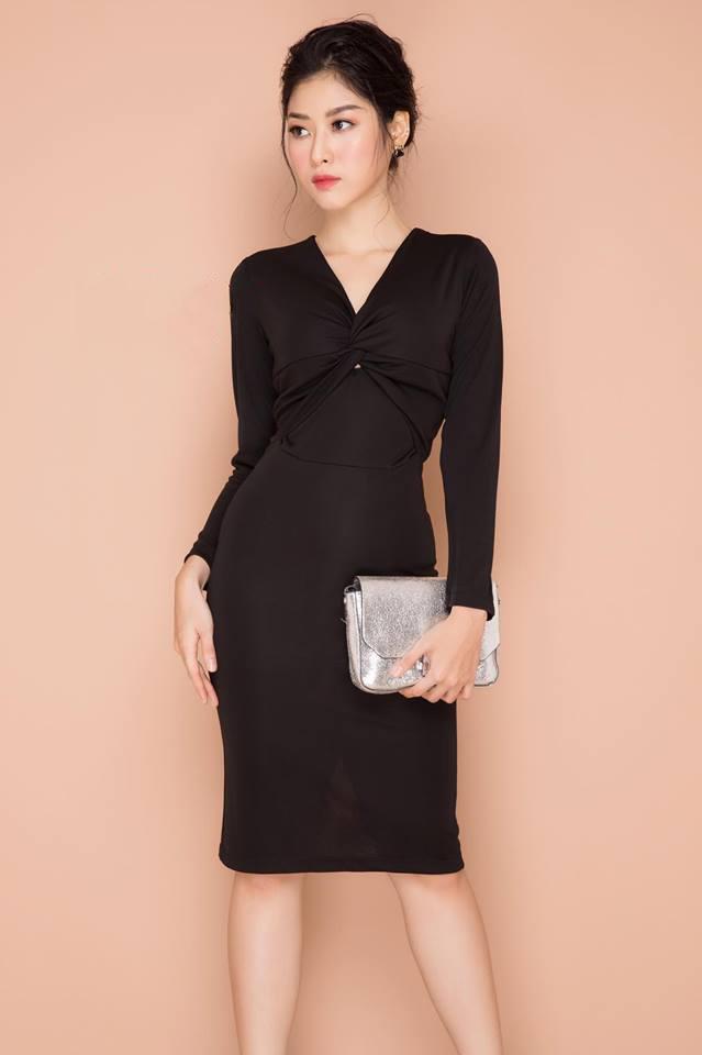 Đầm công sở tay dài xoắn ngực màu đen - đầm công sở có tay