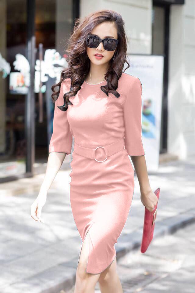 Đầm công sở tay lỡ kèm belt màu hồng xinh xắn