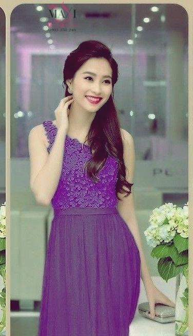 Đầm dạ hội dài lệch ren phối voan dài đẹp như HH Thu Thảo - đầm ôm body dự tiệc