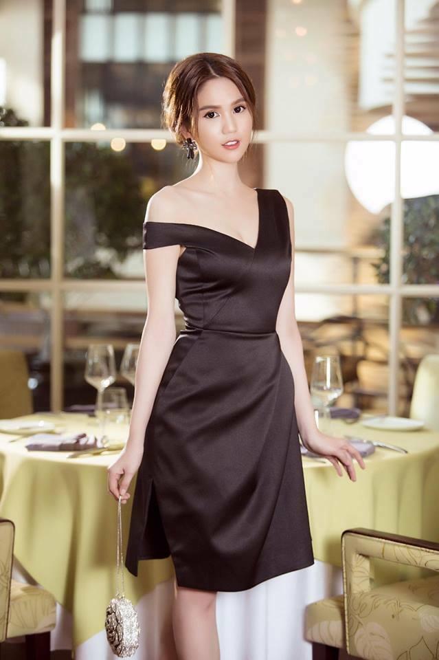 Đầm đen thiết kế lệch vai đẹp như ngọc trinh - đầm lệch vai nơ