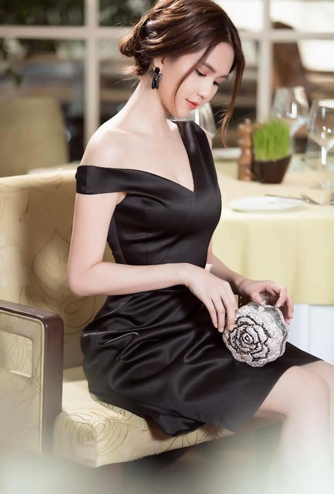 Đầm đen thiết kế lệch vai đẹp như ngọc trinh - váy dạ hội lệch vai