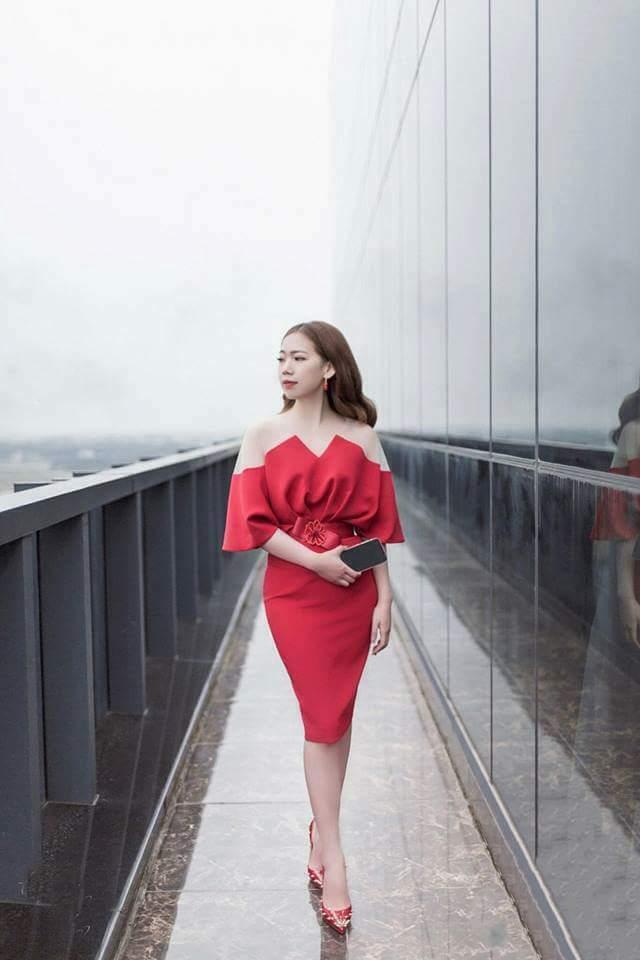 Đầm dự tiệc cổ phối lưới nơ eo màu đỏ sang trọng - đầm dạ hội đẹp