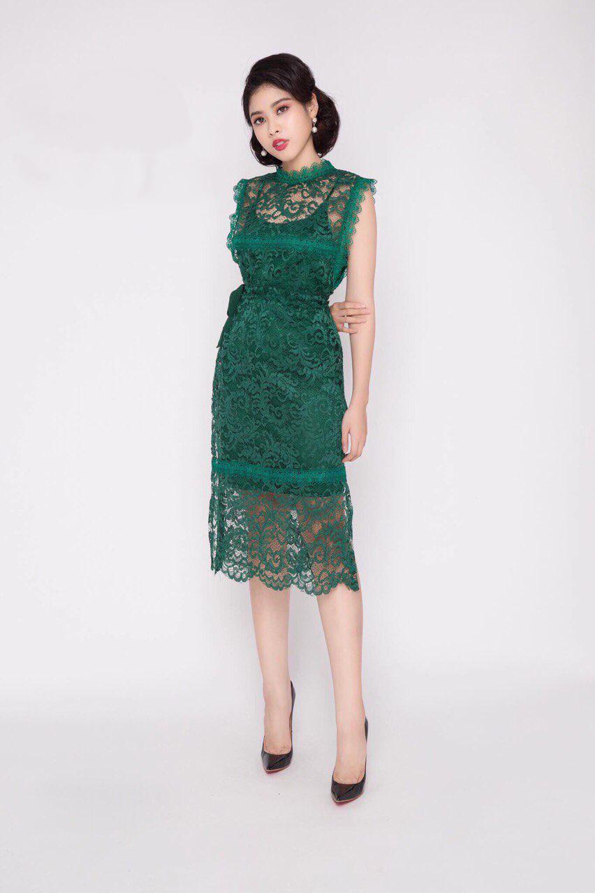 Đầm dự tiệc ren xẻ 2 bên màu xanh - đầm dạ hội body