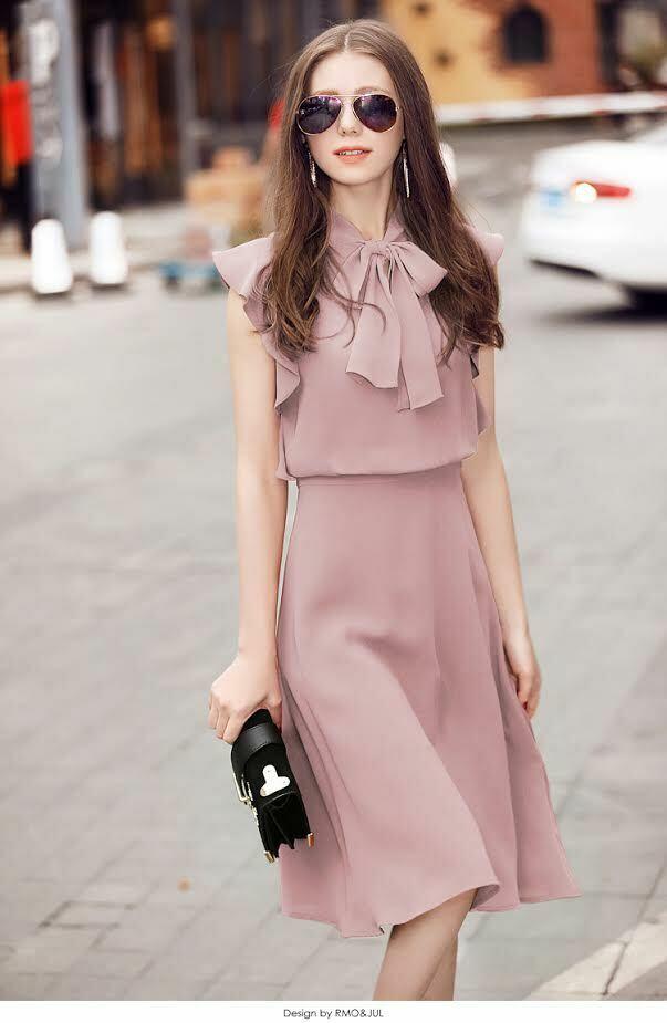 Đầm lụa tằm ý tay cánh tiên thắt nơ màu hồng