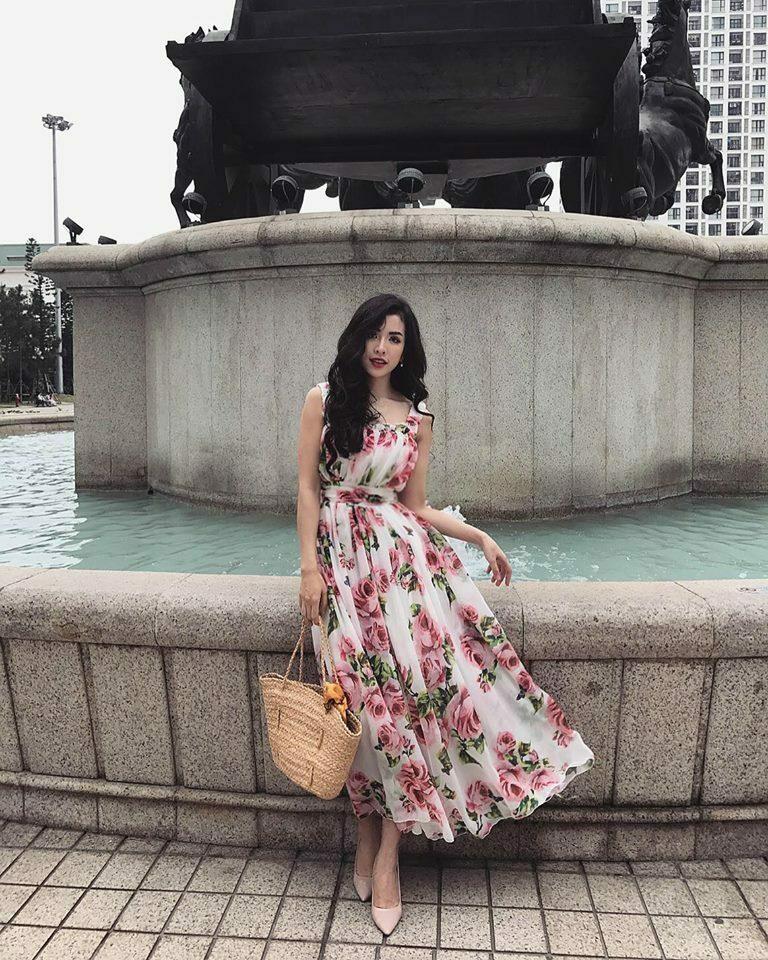 Đầm maxi hoa hồng 2 dây nền trắng dễ thương - đầm maxi body