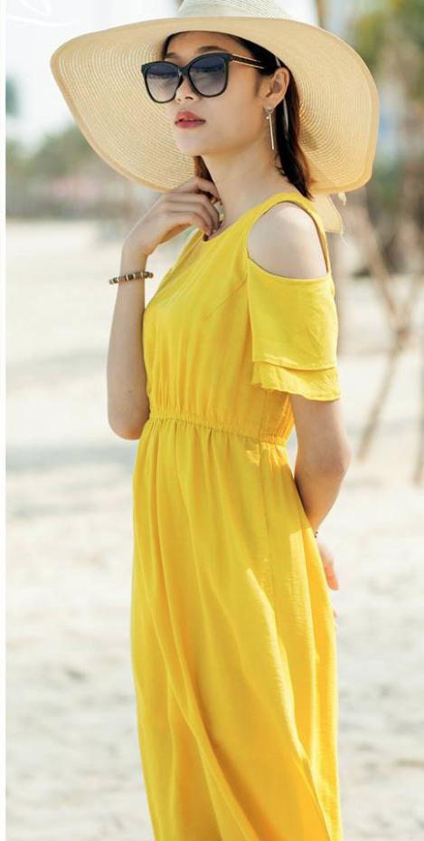 Đầm maxi khoét vai eo thun màu vàng dễ thương