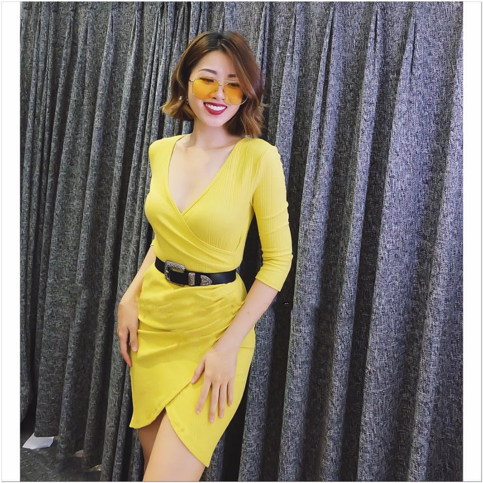 váy dạo phố màu vàng rực rỡ