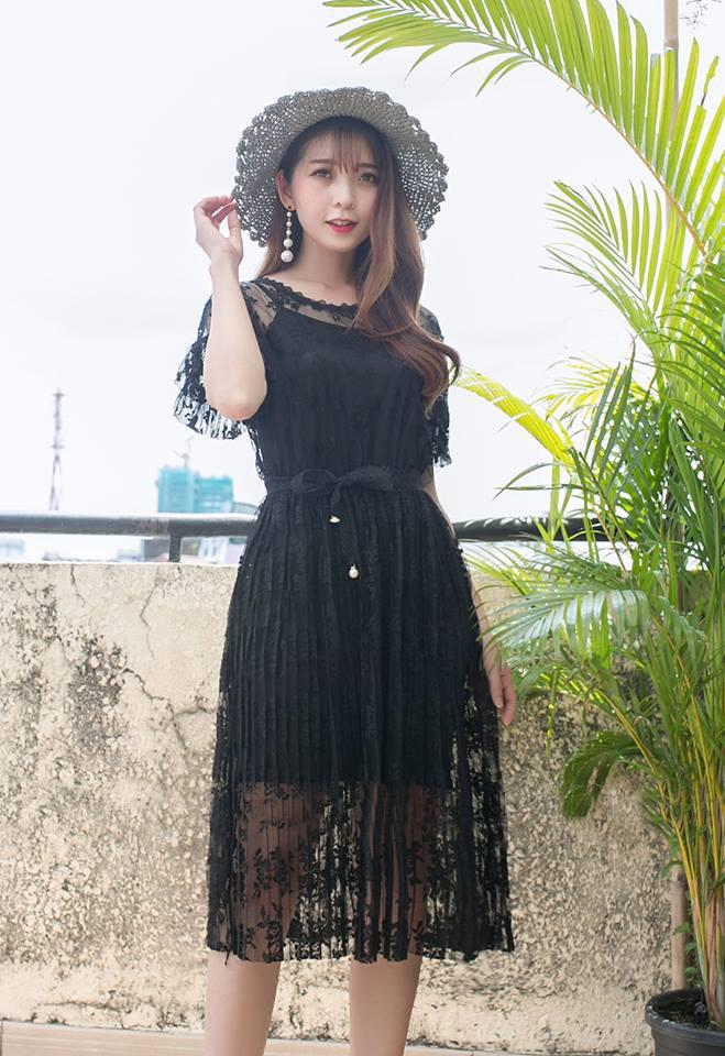 Đầm ren dập ly kèm dây dễ thương - những kiểu đầm ren đẹp