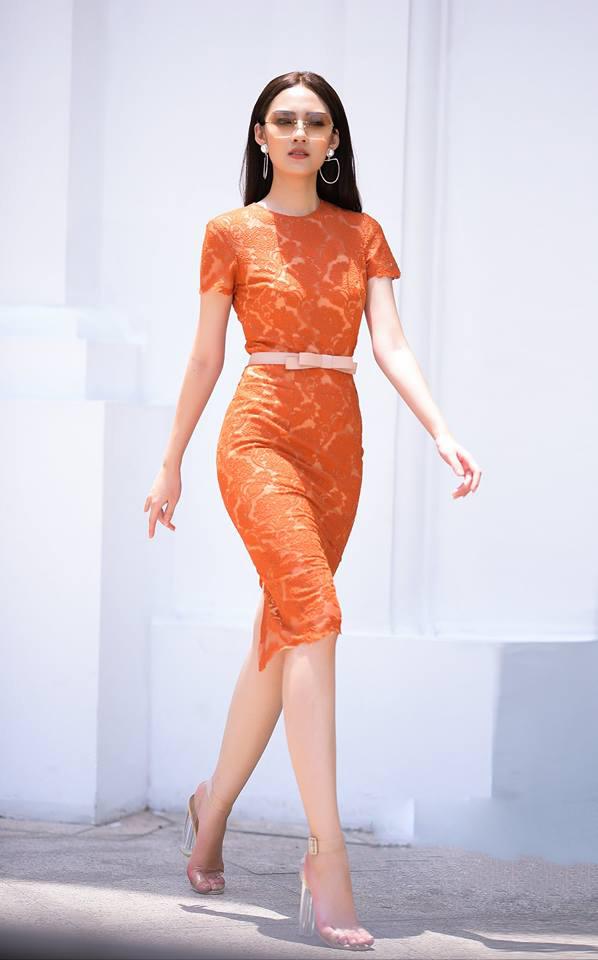 Đầm ren lưới cao cấp kèm dây nơ màu cam