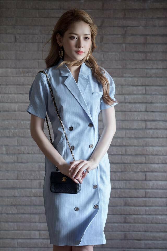Đầm sọc công sở cổ vest đẹp như chi pu - đầm công sở mùa hè