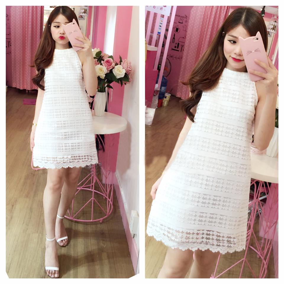 Đầm suông ren bi chữ a màu trắng  - đầm suông lệch vai