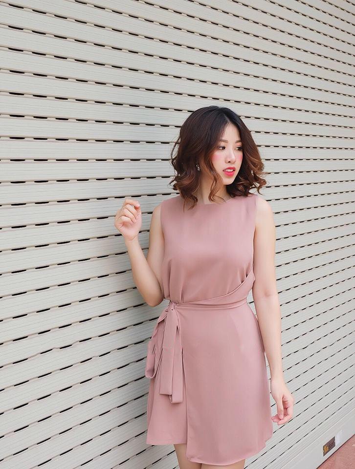 Váy liền có họa tiết eo giả cho phụ nữ 30