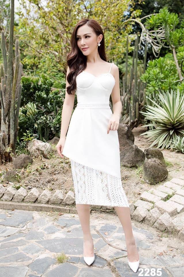 Đầm trắng hai dây chân váy phối ren dự tiệc cao cấp - đầm dự tiệc xinh