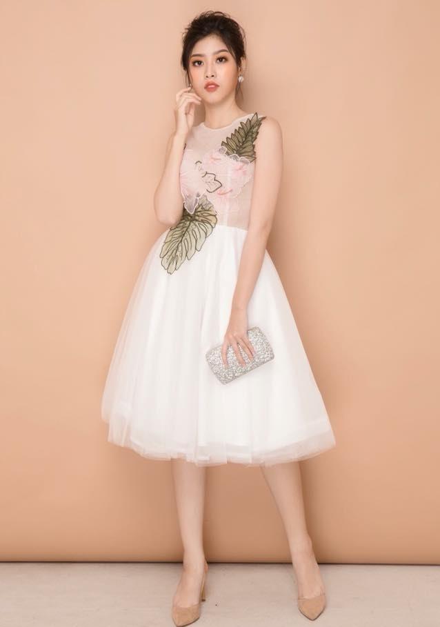 Đầm xòe công chúa ren thêu hoa thủ công màu trắng - đầm xòe bông