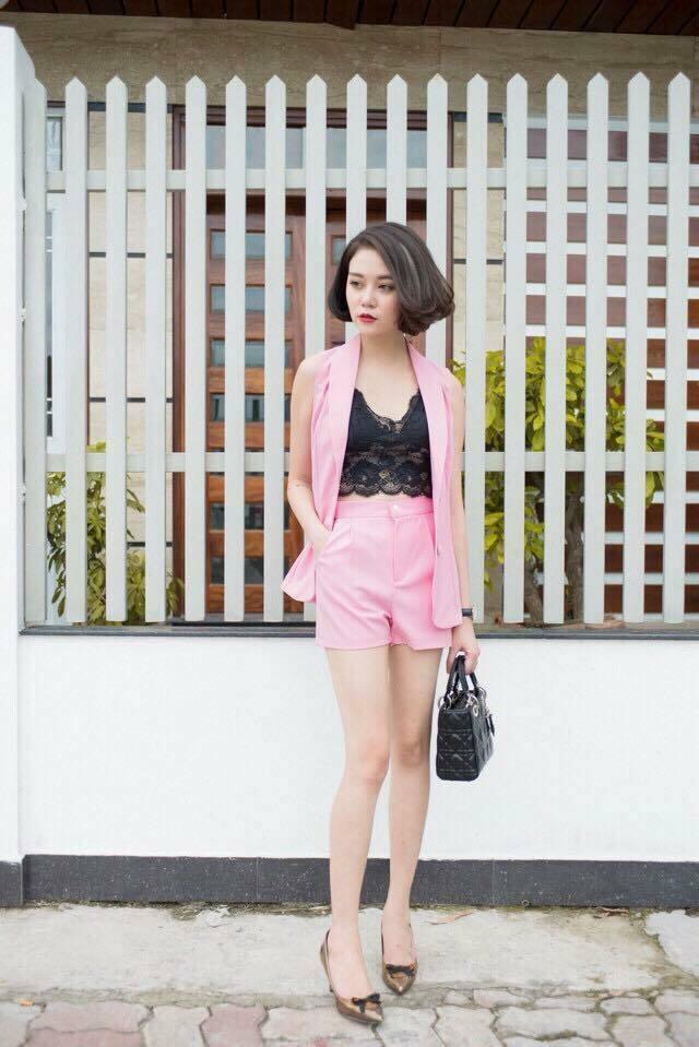 Set áo khoác nút bọc quần short màu hồng áo bra bán riêng - set đồ bộ đẹp