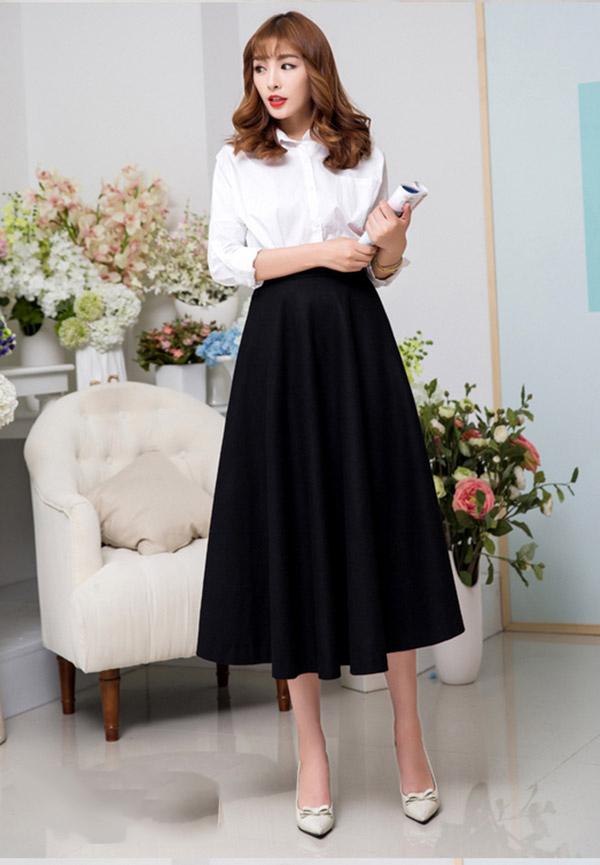 Đầm liền dáng xòe họa tiết hay chân váy màu sắc nơi công sở - 9