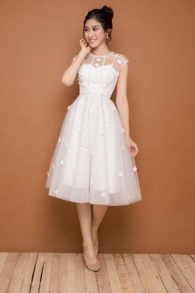 Đầm công chúa lưới kết hoa MAI thiết kế sang chảnh   Đầm xòe đẹp