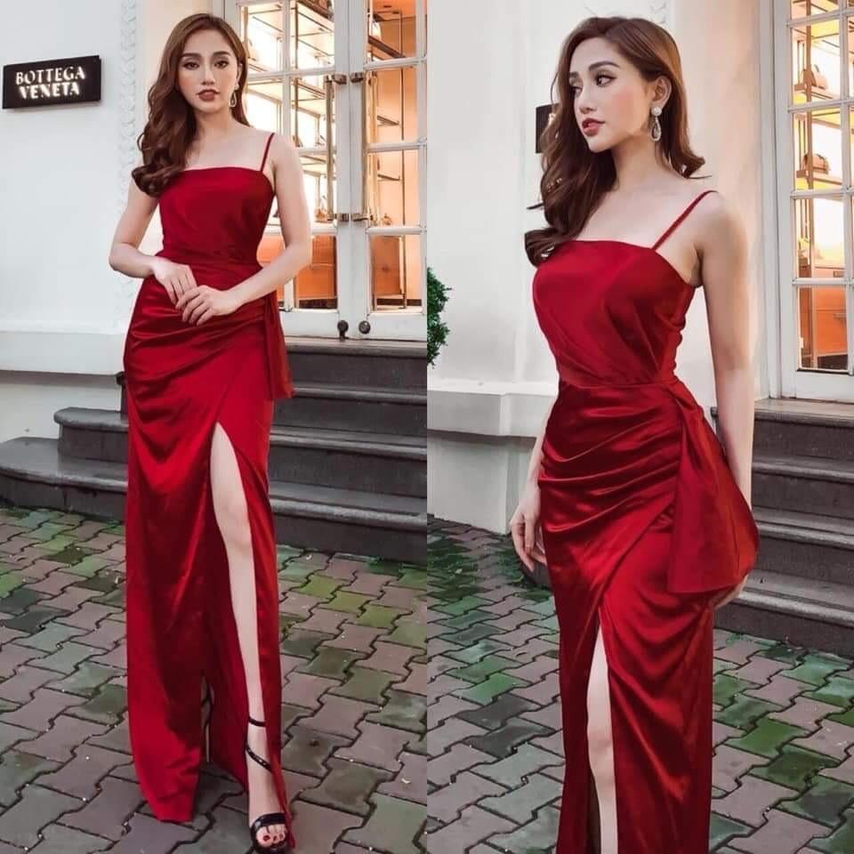 Đầm dạ hội 2 dây xẻ đùi eo cách điệu quyến rũ