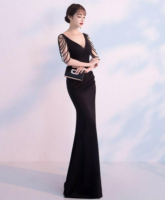 Đầm dạ hội dài cổ tim thiết kế ngọc tua rua sang trọng - Đầm Váy Đẹp