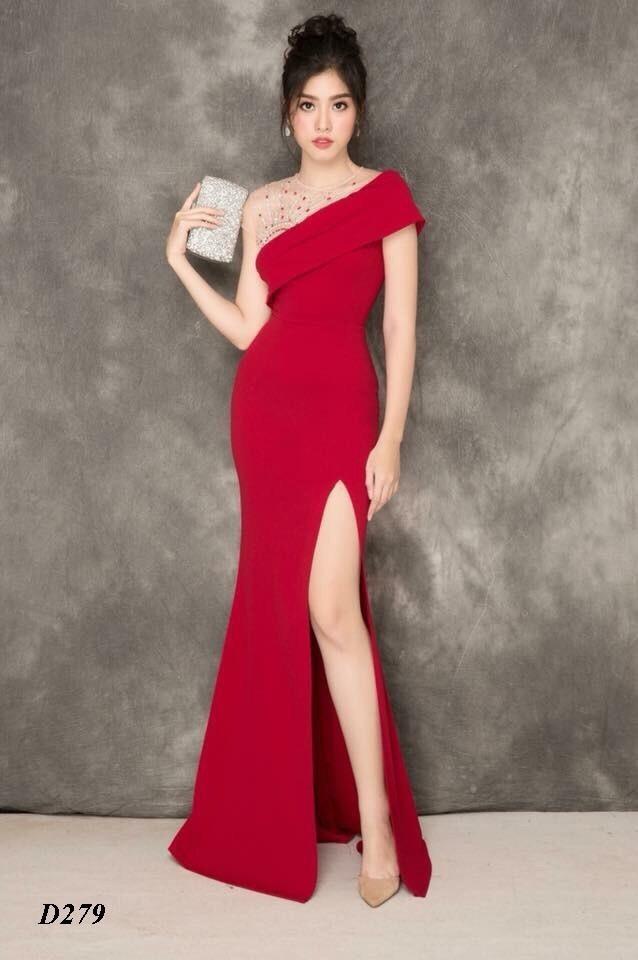 Đầm dạ hội đính ngọc xéo vai xẻ đùi cực quyến rũ - Đầm Váy Đẹp