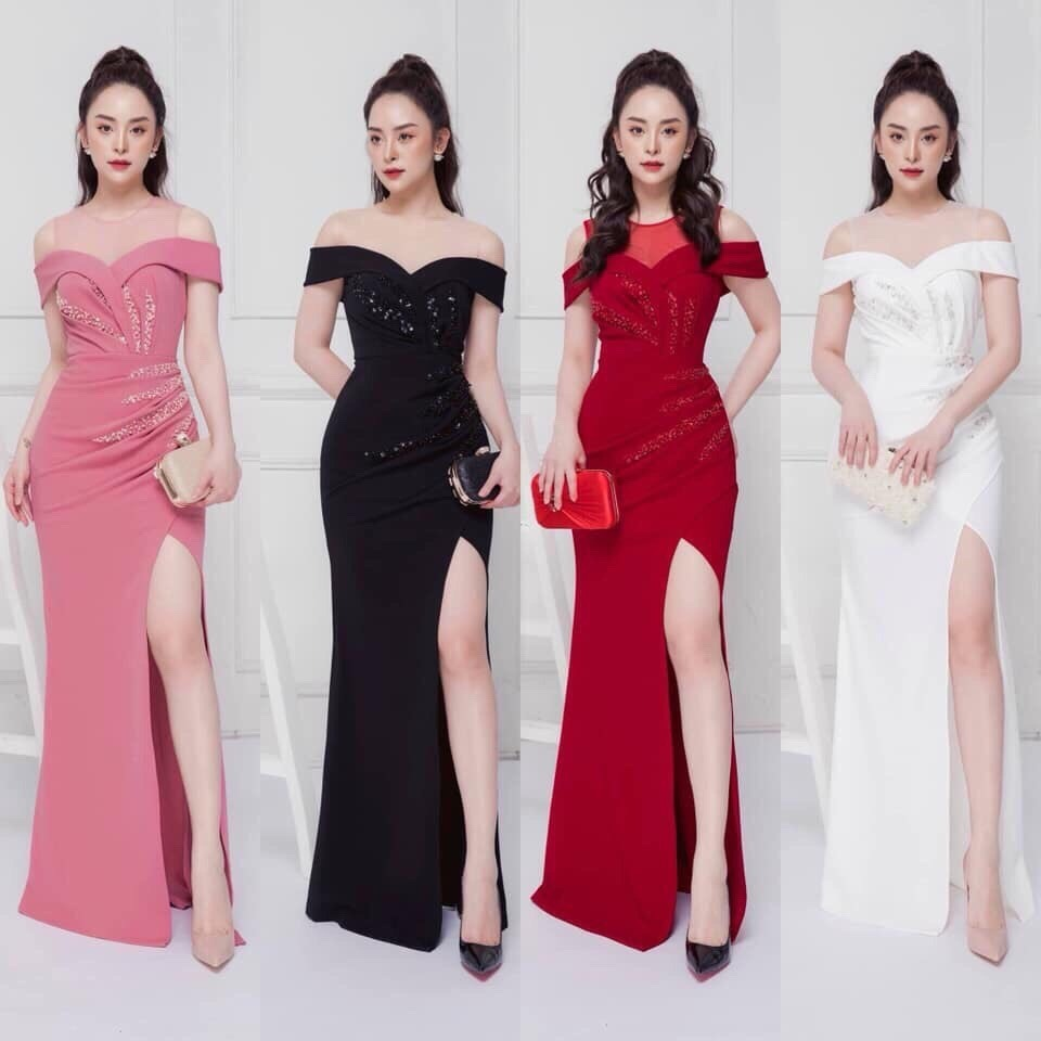 Đầm dạ hội dự tiệc bẹt vai xẻ đùi quyến rũ sang trọng - Đầm Váy Đẹp