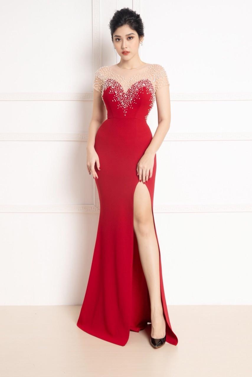 Đầm dạ hội dự tiệc đẹp sang trọng kết cườm xẻ tà quyến rũ