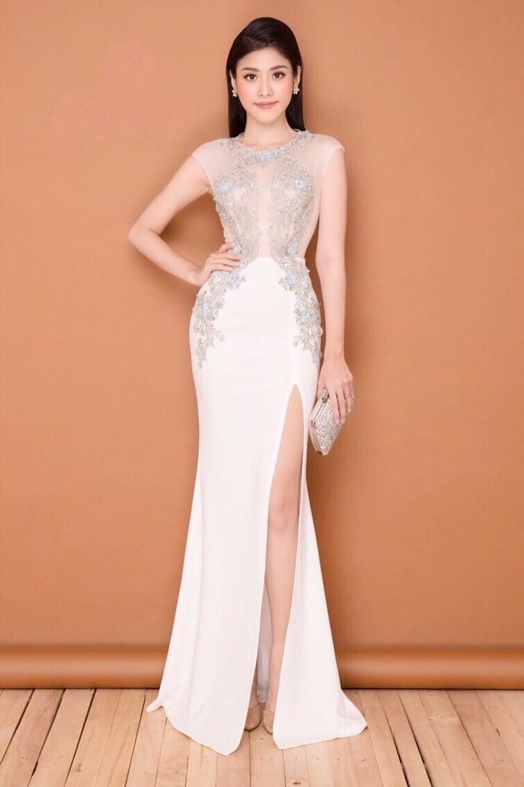 Đầm dạ hội dự tiệc sang trọng thiết kế phối ren kết cườm cao cấp