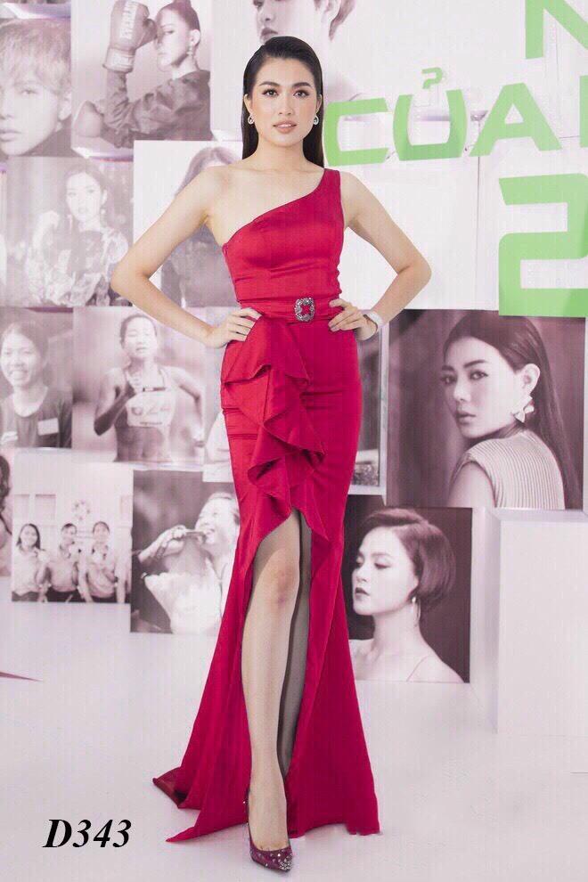 Đầm dạ hội lệch vai xẻ đùi eo cách điệu siêu quyến rũ