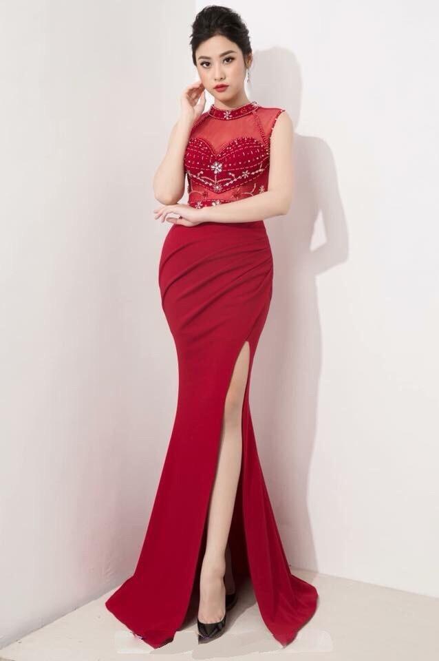 Đầm dạ hội xẻ đùi thiết kế kết cườm cực sang có 3 màu tuyệt đẹp