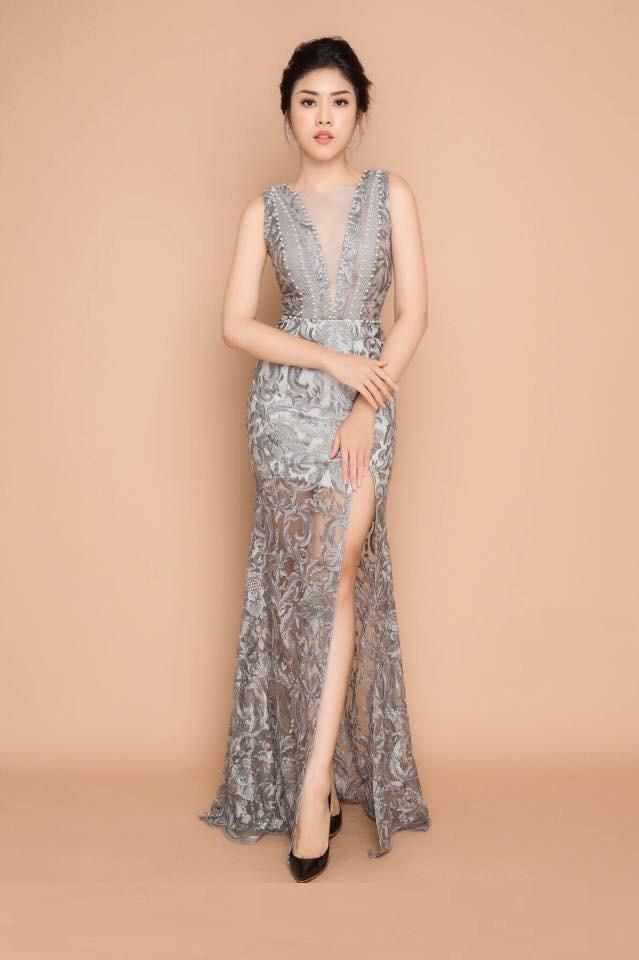 Đầm maxi ren dự tiệc xẻ đùi kết hột cao cấp - Đầm Váy Đẹp