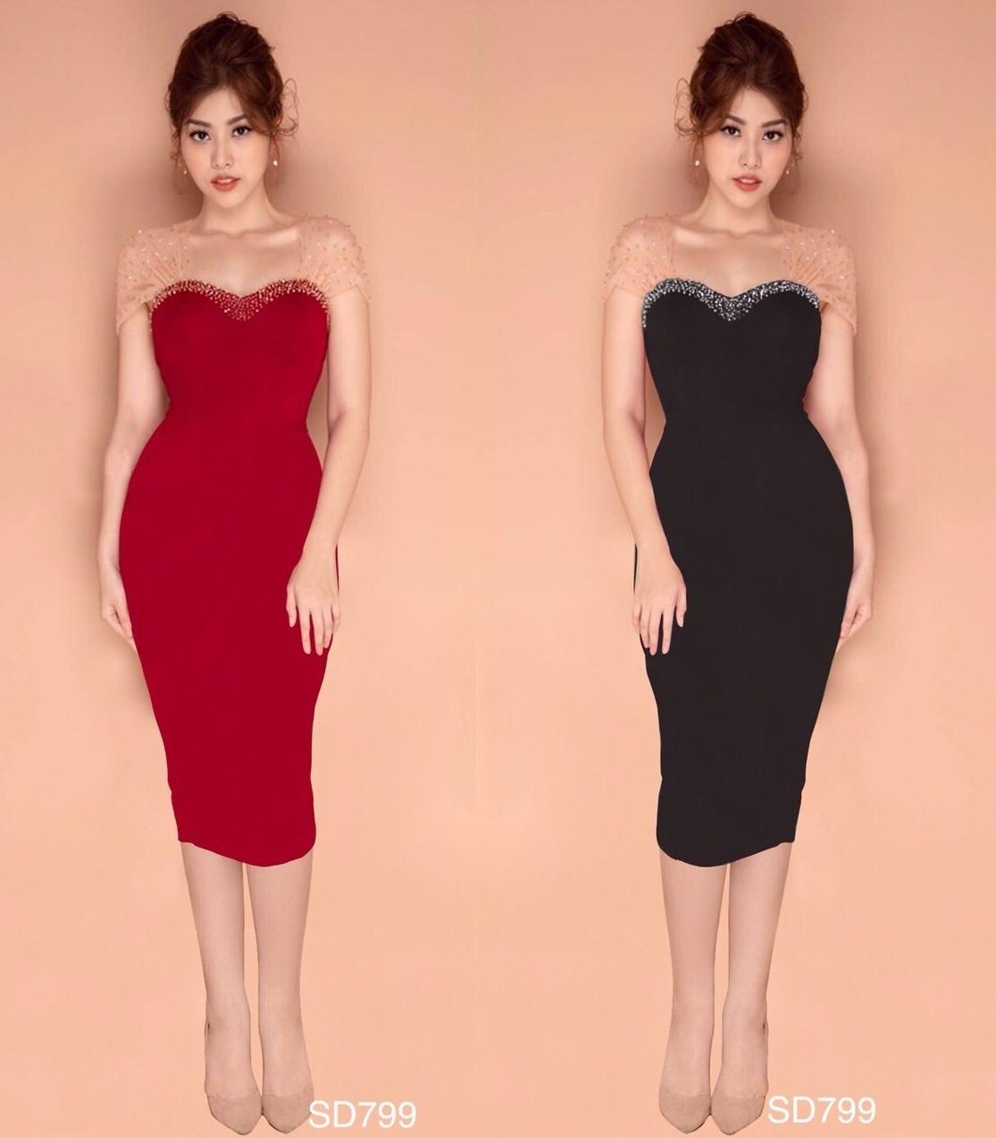 Đầm ôm body dự tiệc đẹp trái tim sang trọng 2 màu đen đỏ