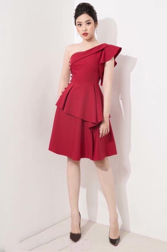 Đầm xòe đẹp dự tiệc sang trọng thiết kế lệch vai kiêu sa