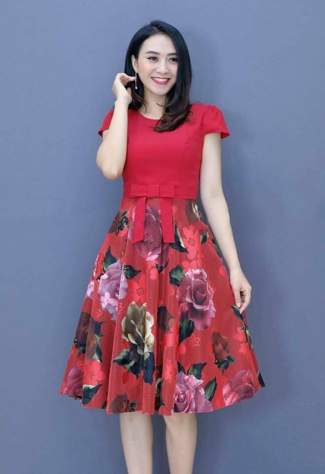 Đầm Xòe hoa tay con thiết kế hoa nơ sang trọng màu đỏ tươi