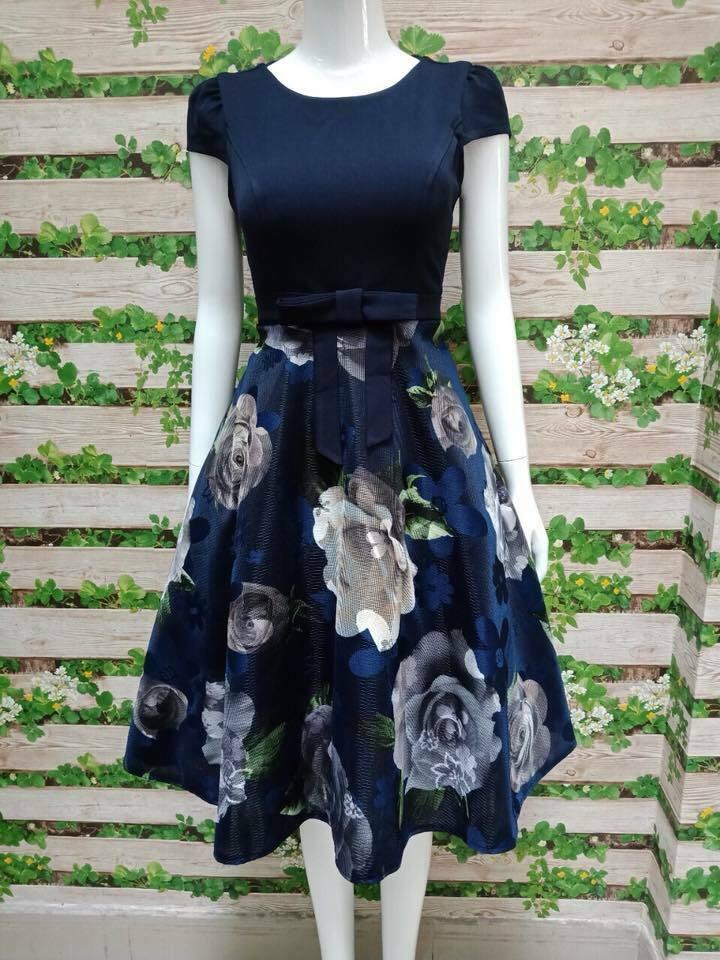 Đầm Xòe hoa tay con thiết kế hoa nơ sang trọng màu xanh