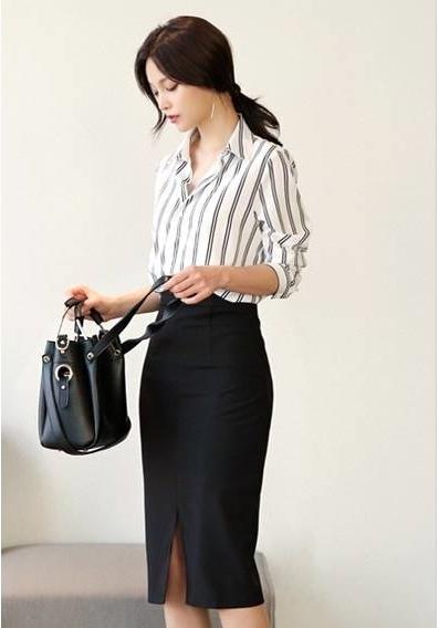 Set công sở áo sơ mi chân váy xẻ tà đơn giản mà đẹp
